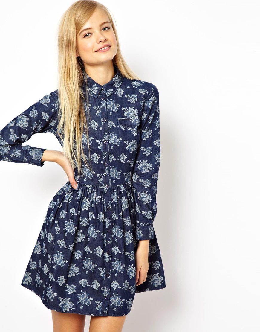 Black sea shirt dress in chambray floral print for Print name on shirt
