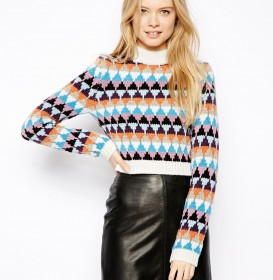Cropped High Neck Sweater in Pattern